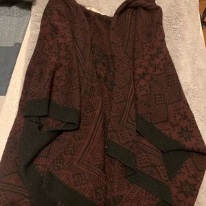 Red and Black Blanket Poncho